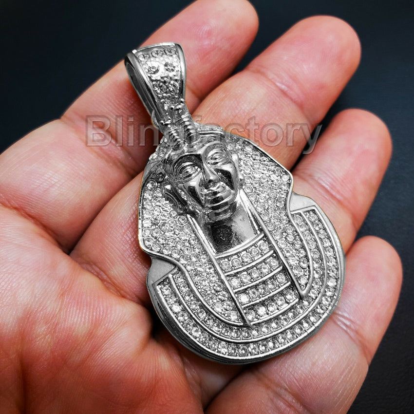 HIP HOP ICED OUT LAB DIAMOND WHITE GOLD PLATED RAPPER'S EGYPT PHARAOH PENDANT