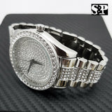Men Silver Tone Iced Out Techno Pave Bling Hip Hop Lab Simulated Diamonds Watch