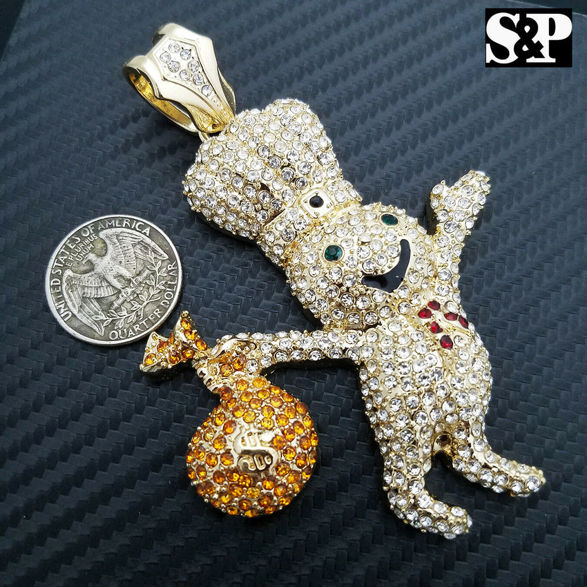 HIP HOP ICED OUT LAB DIAMOND GOLD PLATED RAPPER'S LARGE DOUGHBOY PENDANT