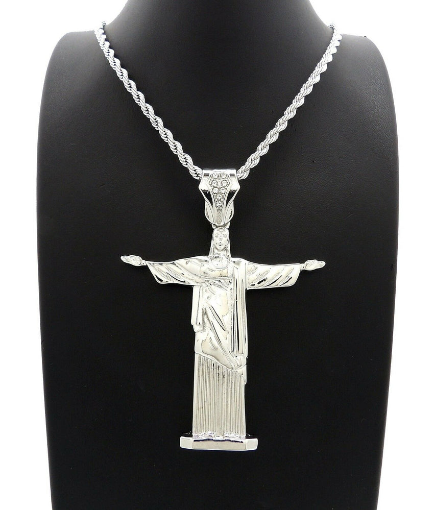 "Hip Hop Iced Out Silver PT Jesus Body Pendant & 4mm 24"" Rope Chain Necklace"