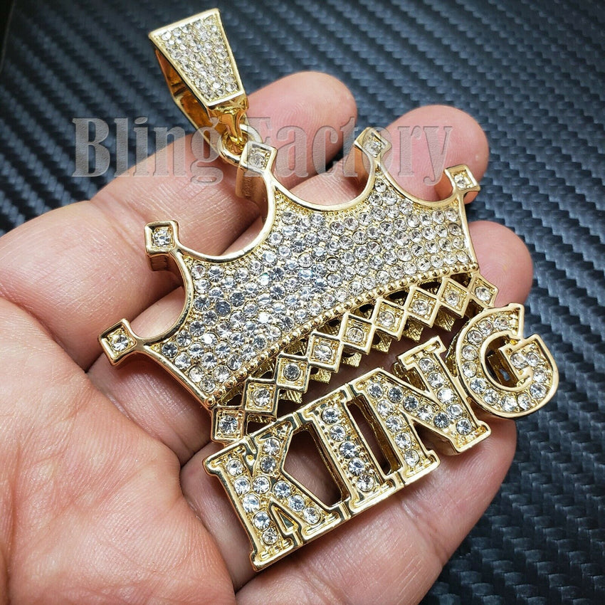 HIP HOP ICED OUT LAB DIAMOND GOLD PLATED LARGE CROWNED KING CHARM PENDANT
