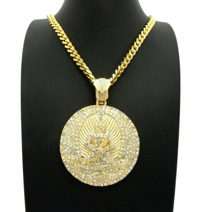"NEW ICED OUT 2PAC EUPHANASIA PENDANT W/ 6MM 30"" BOX CUBAN CHAIN HIP HOP NECKLACE"