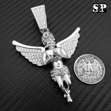 HIP HOP ICED OUT RAPPER STYLE LAB DIAMOND SILVER PLATED BABY ANGEL LARGE PENDANT