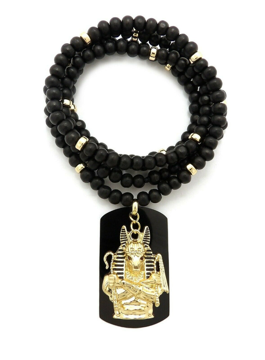 "Hip Hop Iced Egyptian Anubis & Dog Tag Pendant w/ 6mm 30"" Wooden Bead Necklace"