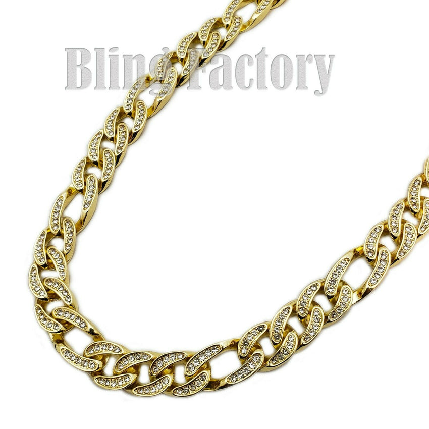 "Hip Hop Men Quavo Rapper Gold PT Iced Out 12mm 20"" Figaro Choker Chain Necklace"