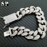 "Hip Hop Iced out 19mm 8.5"" Heavy White Gold PT Brass Micro Pave Stone Bracelet"