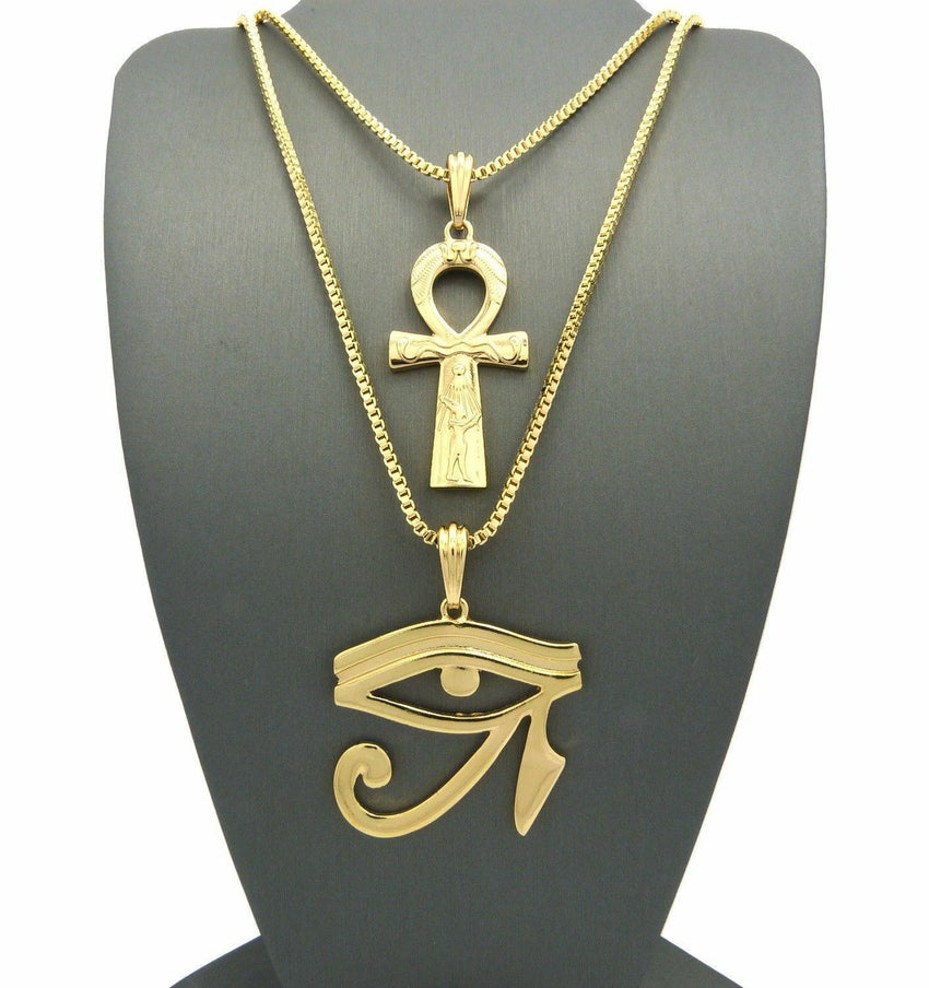 "New EYE OF HERU, ANKH CROSS Pendant w/ 2mm 24""& 30"" Box Chain 2 Necklace Set"