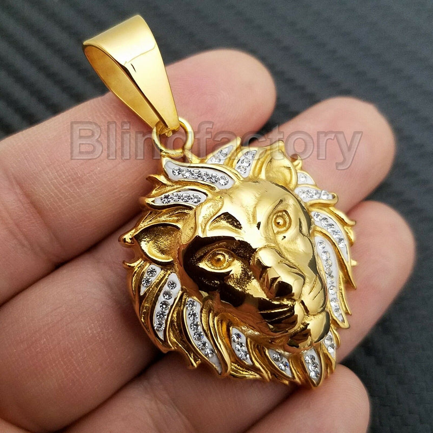 HIP HOP ICED OUT STAINLESS STEEL LAB DIAMOND GOLD PLATED LION HEAD PENDANT