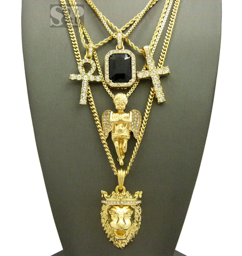 New Hip Hop Iced Out Ankh, Cross, Onyx, Angel, Lion Head Pendant 5 Necklace Set