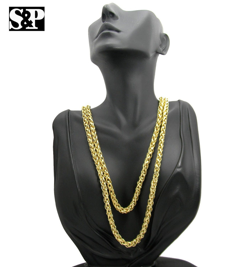 "Unisex Celebrity 14K Gold plated Fashion 6mm 60"" Ponytail Hip Hop Chain Necklace"