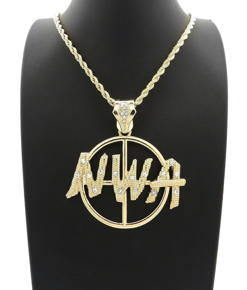 "HIP HOP ICED 14K GOLD PLATED NWA PENDANT & 4mm 24"" ROPE CHAIN NECKLACE"