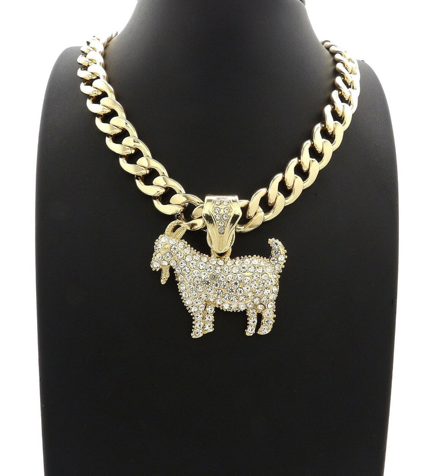 "Hip Hop Iced Out Gold plated GOAT Pendant & 11mm 20"" Cuban Choker Chain Necklace"