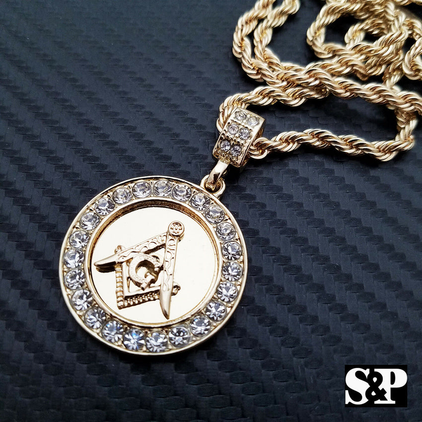 "Hip Hop Iced Out Freemason Masonic Round CZ Pendant w/ 24"" Rope Chain Necklace"