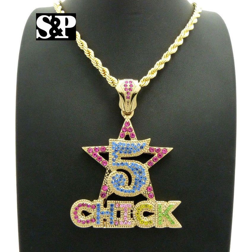 "ICED OUT CELEBRITY STYLE '5 CHICK' PENDANT & 5mm 20"" ROPE CHAIN HIP HOP NECKLACE"