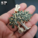 ICED OUT 14K GOLD PT LAB DIAMONDS DOLLAR MONEY BAG TREE PENDANT CHARM