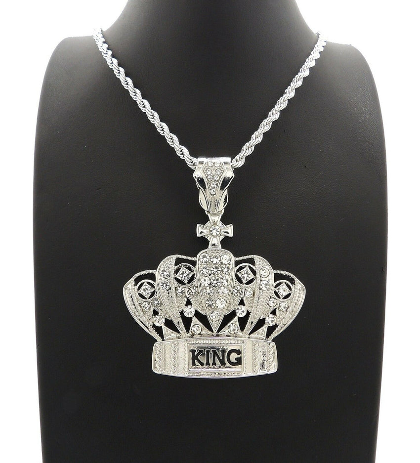 "HIP HOP ICED OUT SILVER PT CROWNED KING PENDANT & 4mm 24"" ROPE CHAIN NECKLACE"