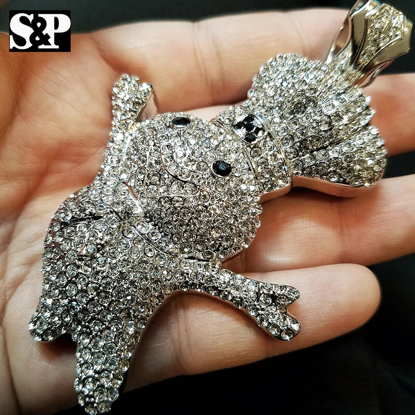 HIP HOP ICED OUT WHITE GOLD PLATED LAB DIAMOND RAPPER'S LARGE DOUGHBOY PENDANT