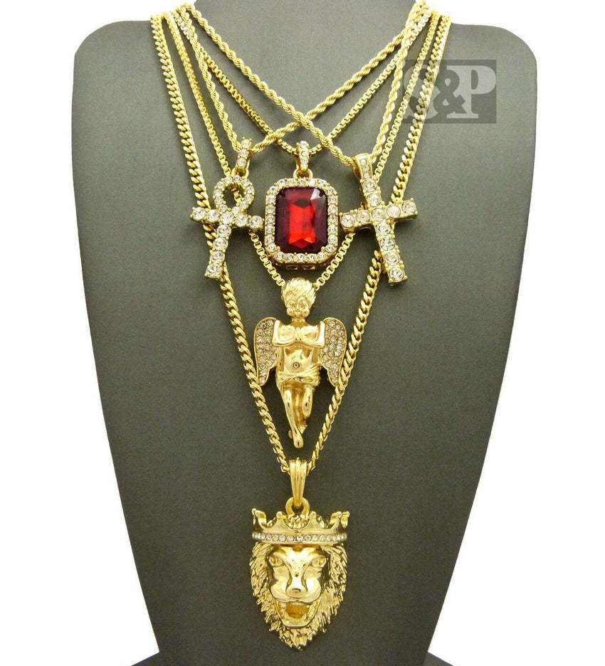 Hip Hop Iced Out Ankh, Cross, Red Ruby, Angel, Lion Head Pendant 5 Necklace Set