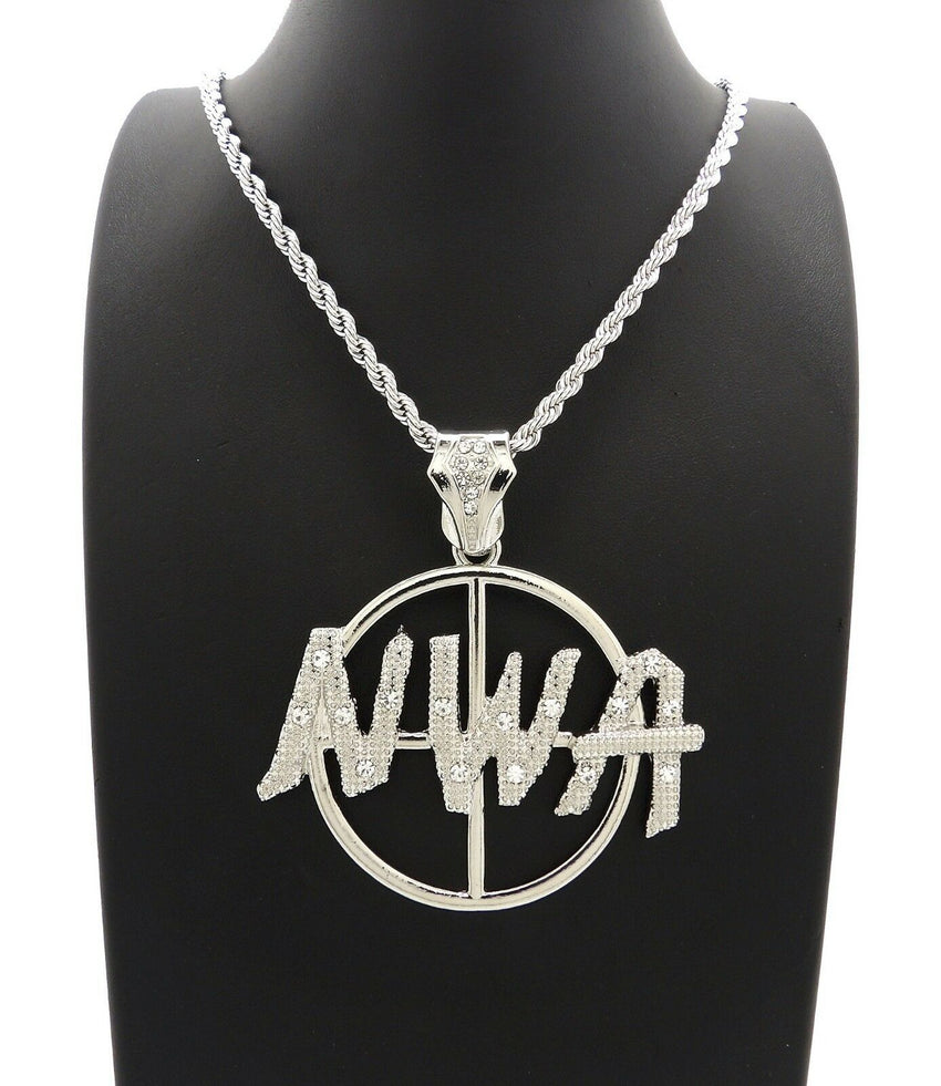 "HIP HOP ICED OUT WHITE GOLD PLATED NWA PENDANT & 4mm 24"" ROPE CHAIN NECKLACE"