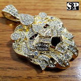 HIP HOP ICED OUT RAPPER STYLE LAB DIAMOND GOLD PLATED LARGE LION HEAD PENDANT
