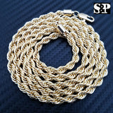 "NEW HIP HOP 80'S RAPPERS 14K GOLD PLATED 5MM 30"" ROPE CHAIN NECKLACE"