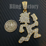 HIP HOP ICED OUT LAB DIAMOND GOLD PLATED LARGE HATCHET MAN RUNNER PENDANT
