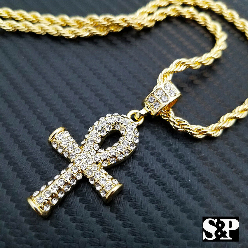 "Hip Hop Iced Out Gold Plated Ankh Cross Pendant w/ 4mm 24"" Rope Chain Necklace"