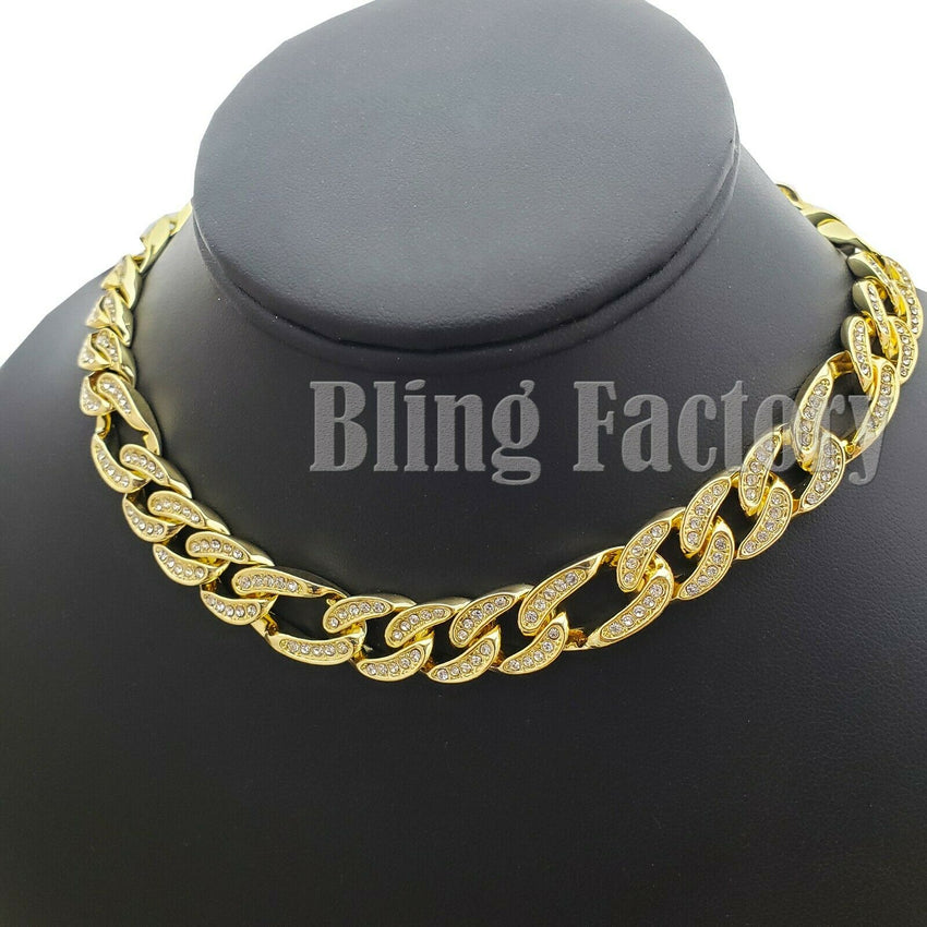 "Hip Hop Men Quavo Rapper Gold PT Iced Out 12mm 16"" Figaro Choker Chain Necklace"