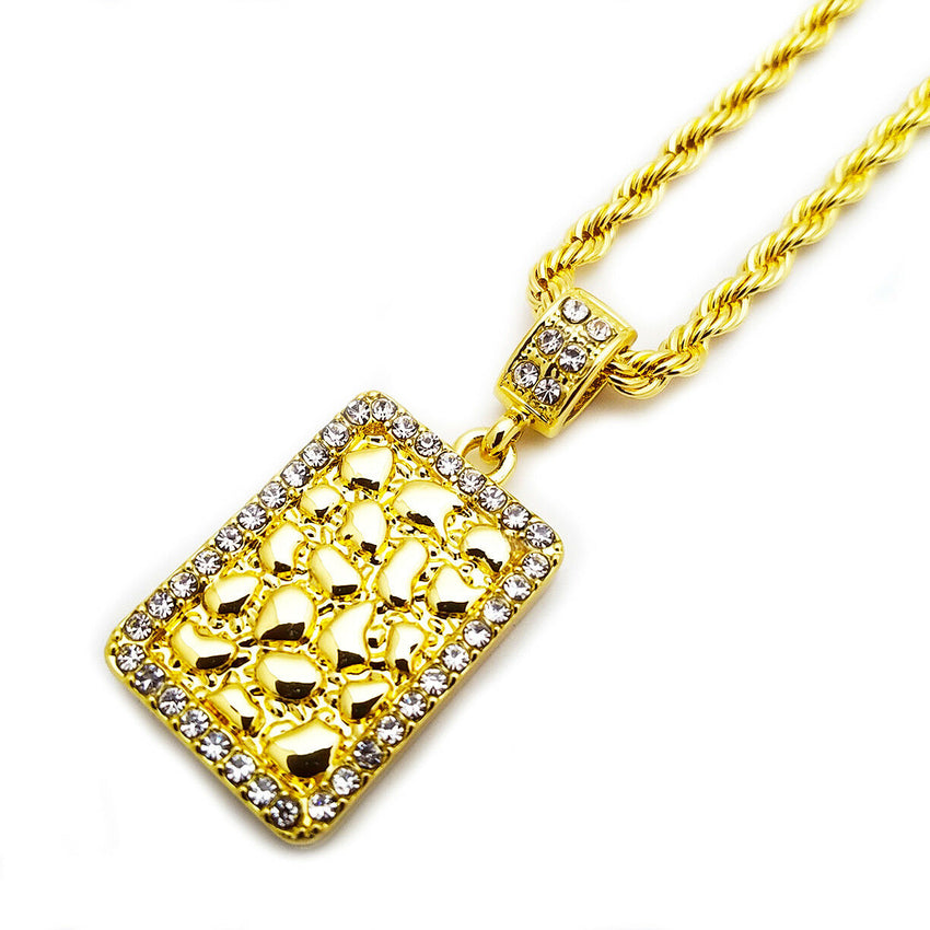 "Iced Out Gold PT Golden Nugget Bar Pendant & 24"" Rope Chain Hip Hop Necklace"