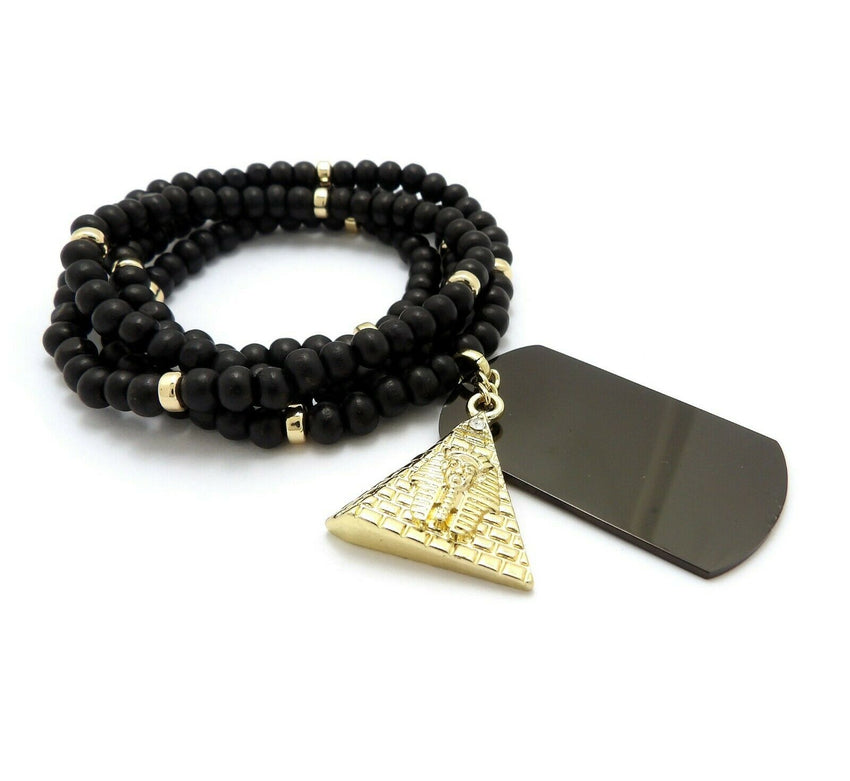 "Hip Hop Iced Egyptian Pyramid & Dog Tag Pendant w/ 6mm 30"" Wooden Bead Necklace"