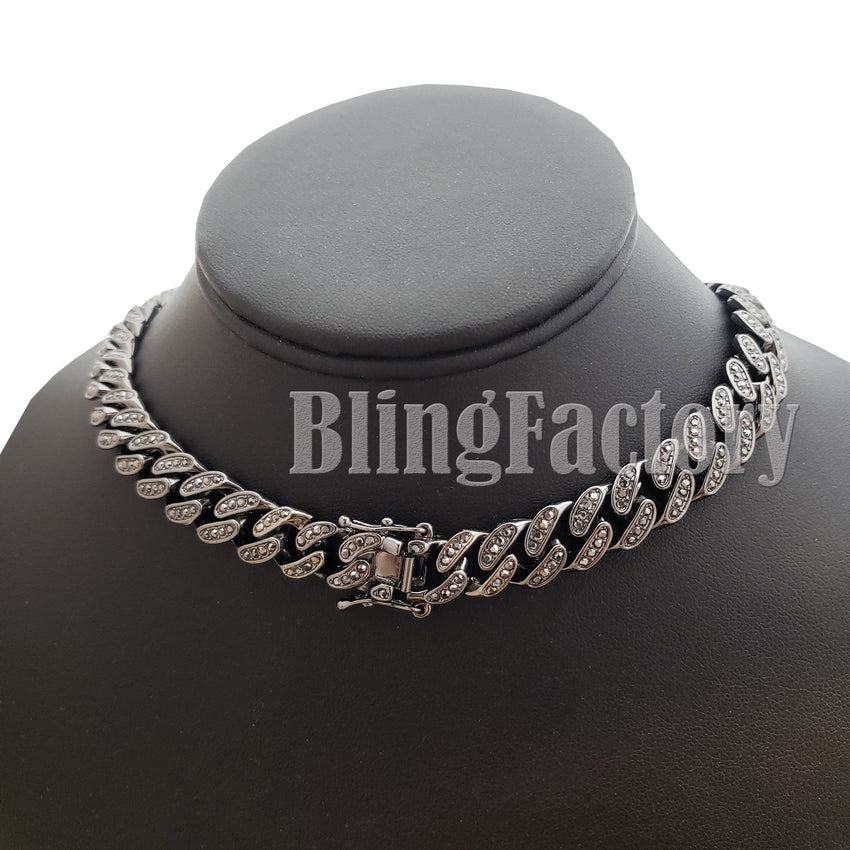 "Hip Hop Full Iced Hematite Black 12mm 18"" 20"" Miami Cuban Choker Chain Necklace"