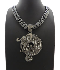 Hip Hop Iced Out Black ROCAFELLA Pendant & 18