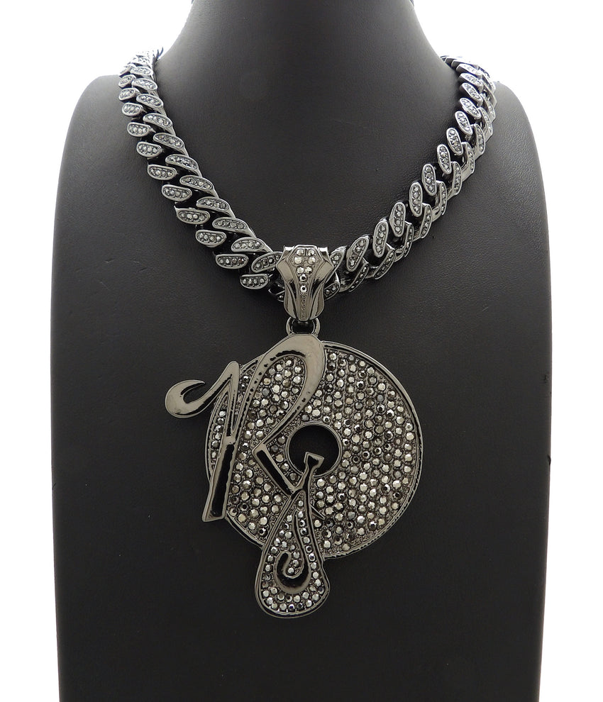 "Hip Hop Iced Out Black ROCAFELLA Pendant & 18"" 20"" Iced Box Lock Cuban Chain Necklace"