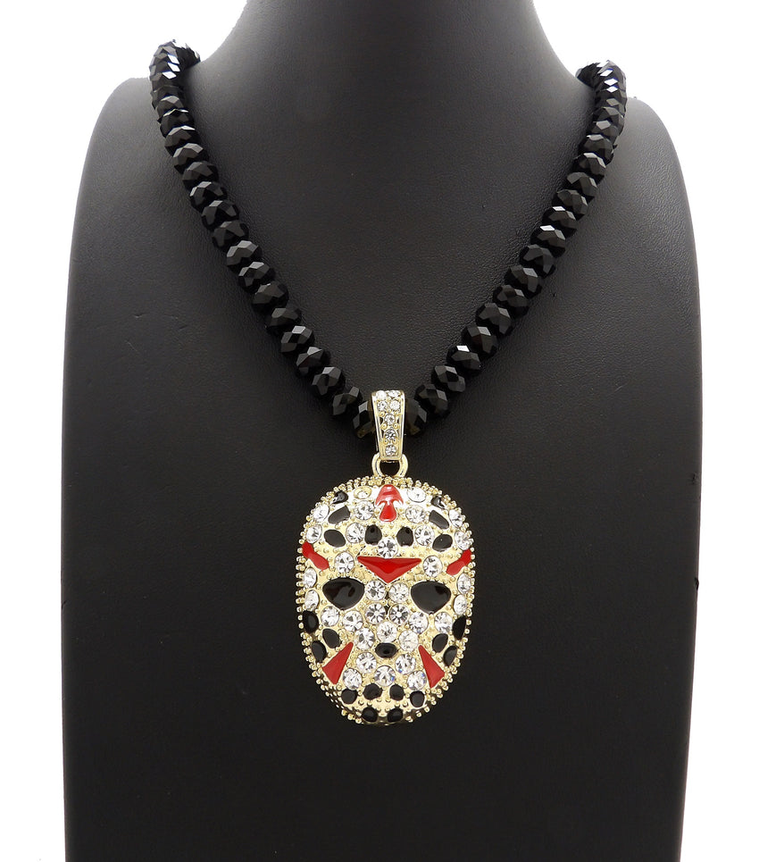 "Iced Out Hip Hop Slaughter Gang Pendant & 8mm 24"" Black Glass Bead Necklace"