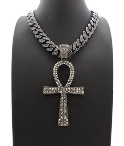 Hip Hop Iced Out Black Ankh Cross Pendant & 18