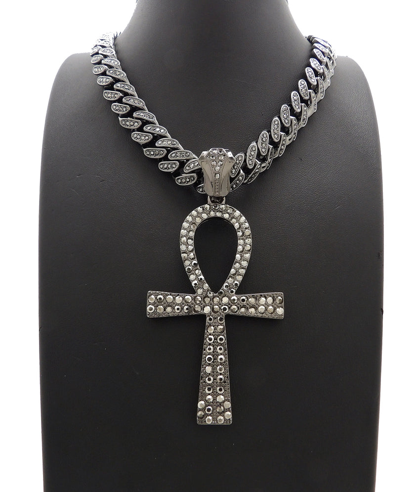 "Hip Hop Iced Out Black Ankh Cross Pendant & 18"" 20"" Iced Box Lock Cuban Chain Necklace"