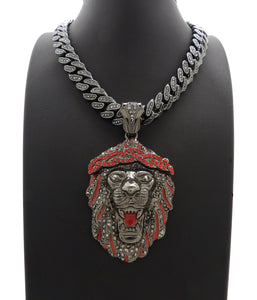 Hip Hop Iced Out Black Lion Head Pendant & 18