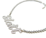 "Women's Iced Silver Plated Slatt Pendant & 5mm 16"" CZ Choker Chain Hip Hop Necklace"