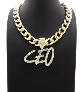 Iced Hip HOP CEO Bling Pendant & 11mm 18