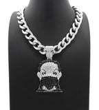"Iced Hip HOP MASK Man Boondock Pendant & 11mm 18"" Cuban Choker Chain Necklace"
