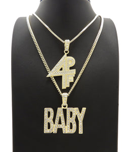 14K Gold Plated Hip Hop Lil BABY & 4PF Pendant w/ 20