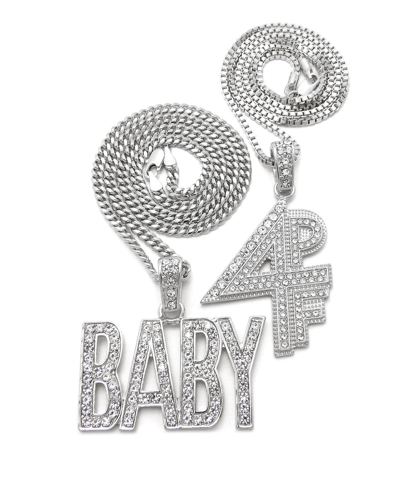 "White Gold Plated Hip Hop Lil BABY & 4PF Pendant w/ 20"" 24"" Box Cuban Chain Necklace Set"