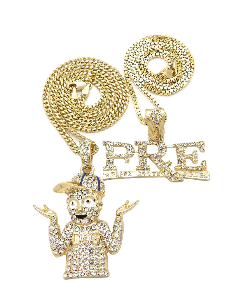 "14K Gold PT Hip Hop Young Dolph & PRE Pendant w/ 20"" 24"" Box Cuban Chain Necklace Set"