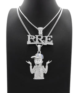 White Gold PT Hip Hop Young Dolph & PRE Pendant w/ 20
