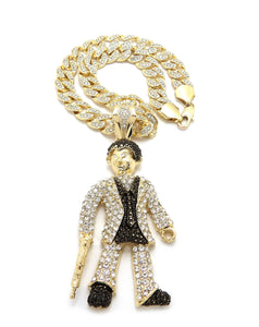 Hip Hop Gold Plated Scarface Pendant & 10mm 18