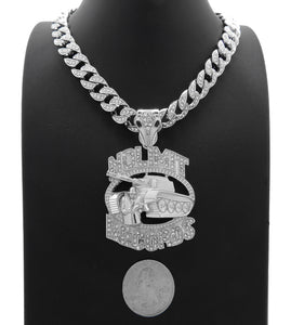 NOLIMIT RECORDS TANK White Gold Plated Pendant & 10mm 18