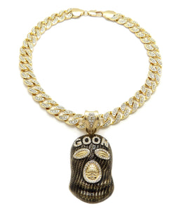 Hip Hop Gold Plated GOON MASK Pendant & 10mm 18