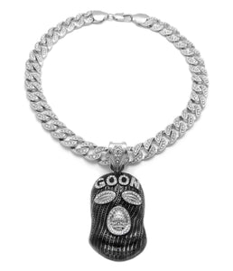 Hip Hop White Gold Plated GOON MASK Pendant & 10mm 18
