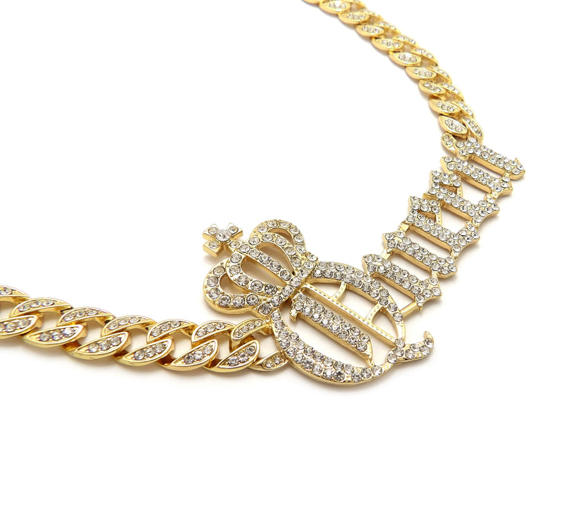 "Hip Hop Gold PT Crowned Queen Pendant & 10mm 18"" 20"" 24"" Iced Cuban Chain Bling Necklace"