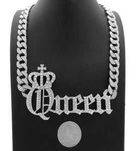 Hip Hop White Gold PT Crowned Queen Pendant & 10mm 18